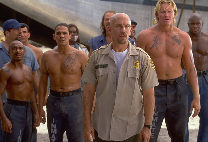 CON AIR - Ty as Blade with John Malkovich as Cyrus the Virus, Emilio Rivera as Carlos, and Conrad Goode as Viking